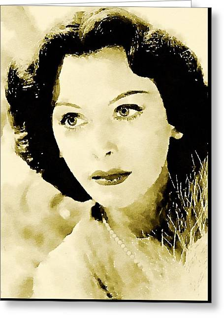 Hedy Lamarr Hollywood Star Greeting Card by John Springfield