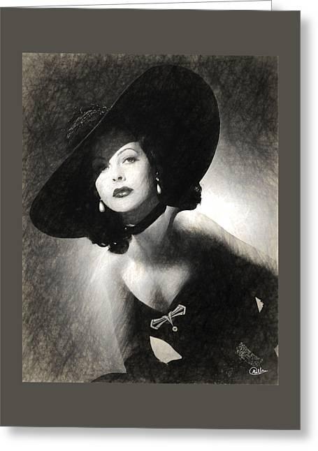 Hedy Lamarr Drawn Greeting Card by Quim Abella