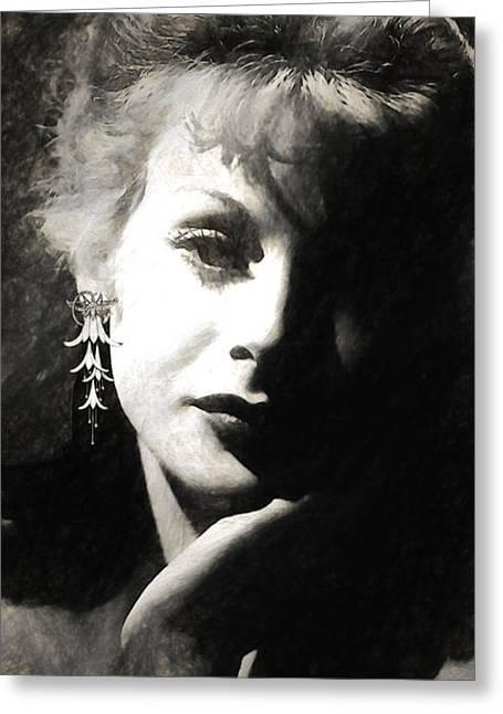 Hedy Lamarr Sketch Greeting Card by Quim Abella