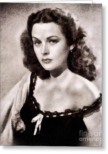 Hedy Lamarr, Vintage Actress By John Springfield Greeting Card
