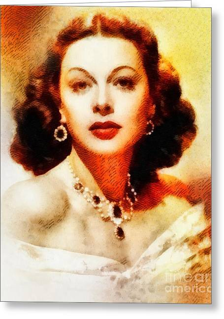 Hedy Lamarr, Vintage Hollywood Actress Greeting Card by John Springfield