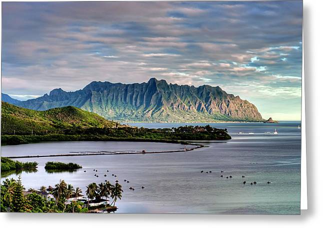 He'eia Fish Pond And Kualoa Greeting Card