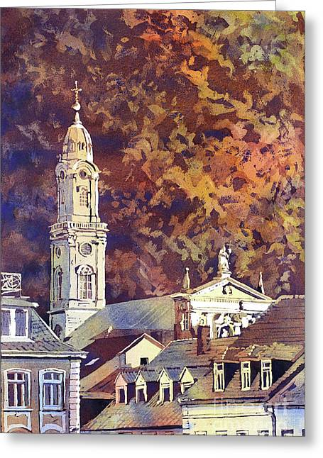 Greeting Card featuring the painting Heidelberg Evening by Ryan Fox