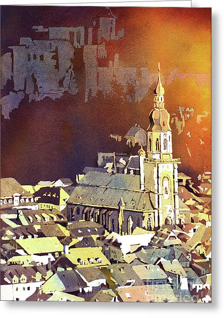 Greeting Card featuring the painting Heidelberg Sunset- Germany by Ryan Fox