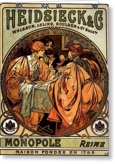 Heidsieck And Co   Greeting Card by Alphonse Maria Mucha
