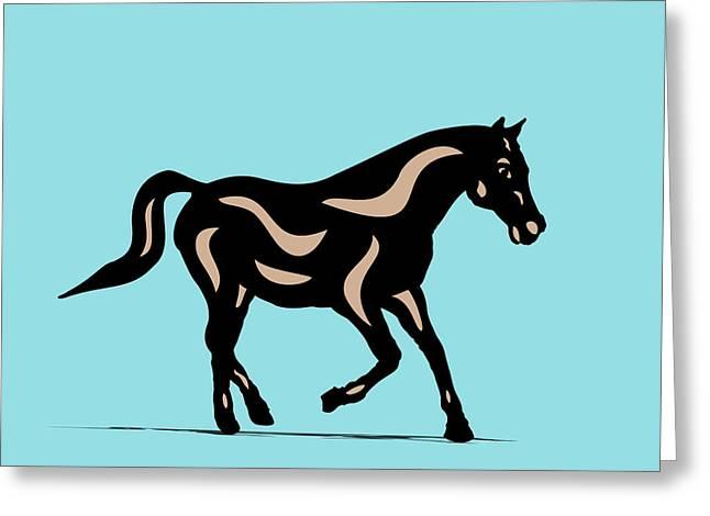 Heinrich - Pop Art Horse - Black, Hazelnut, Island Paradise Blue Greeting Card