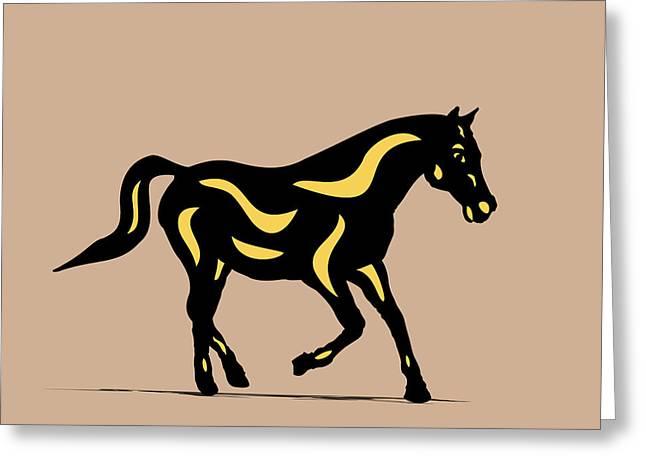 Heinrich - Pop Art Horse - Black, Primrose Yellow, Hazelnut Greeting Card