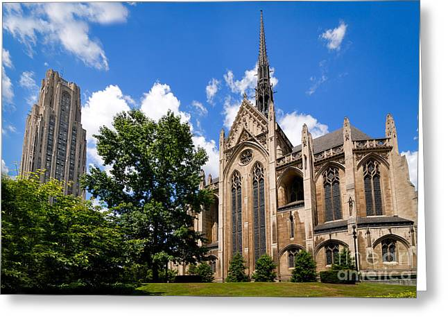 Heinz Memorial Chapel And Cathedral Of Learning Greeting Card by Amy Cicconi