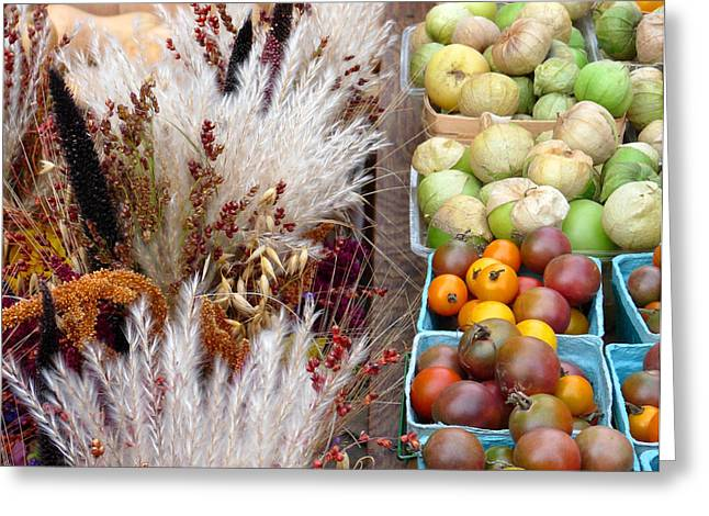 Heirloom Tomatoes And Fall Grass Greeting Card by David Bearden