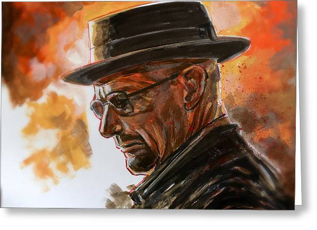 Greeting Card featuring the painting Heisenberg by Joel Tesch