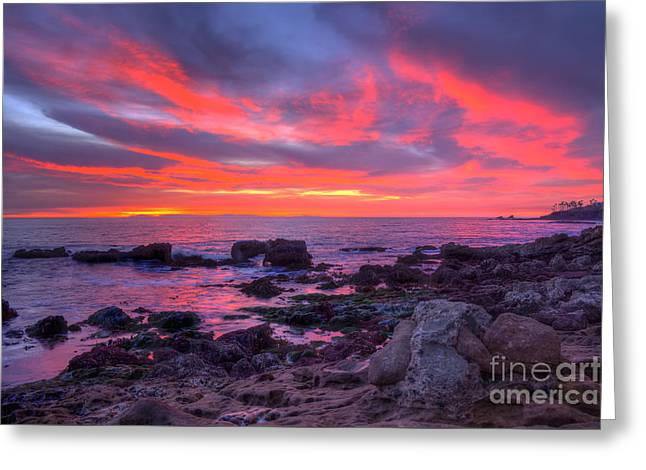 Greeting Card featuring the photograph Heisler Park Tide Pools At Dusk by Eddie Yerkish