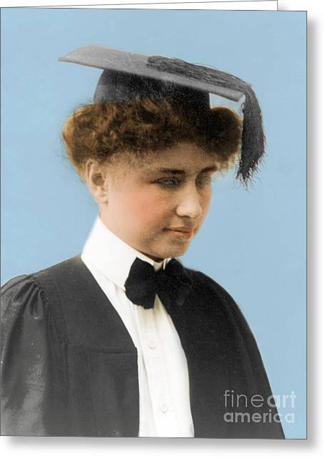 Helen Keller, American Author Greeting Card by Science Source