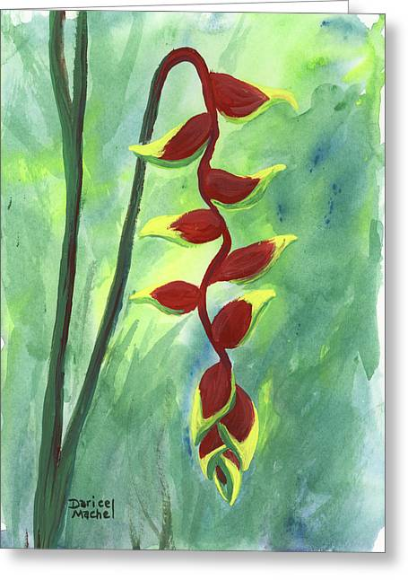 Greeting Card featuring the painting Heliconia  by Darice Machel McGuire