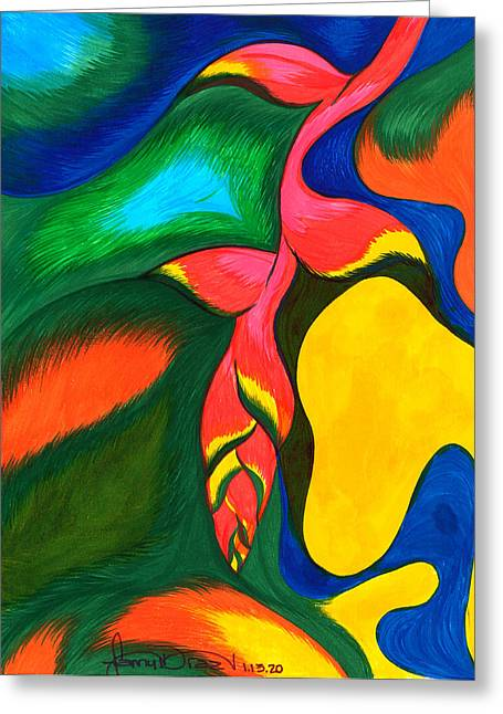 Philosophical Movement Greeting Cards - Heliconia Rostrata Greeting Card by Fanny Diaz