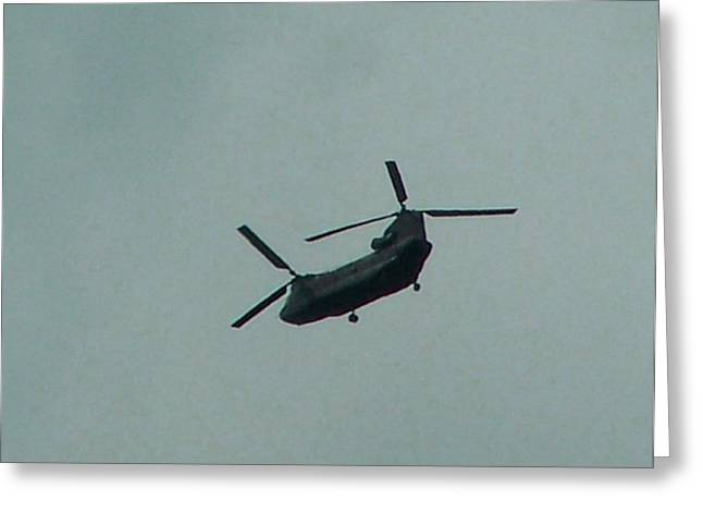 Helicopter Leaving Airport Greeting Card by Lila Mattison
