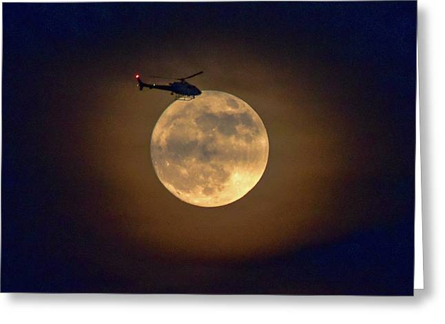 Helicopter Moon And Clouds I Greeting Card