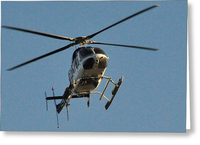 Helicopter On Final Approach  Greeting Card by Bill Perry