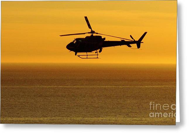 Helicopter Sunset Greeting Card