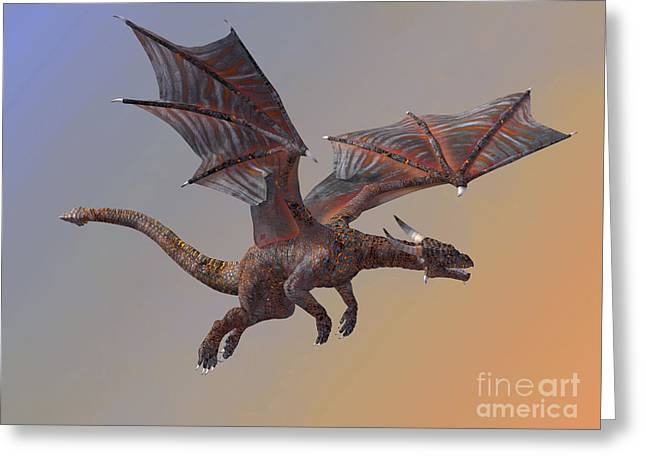 Hell Dragon Flying Greeting Card by Corey Ford