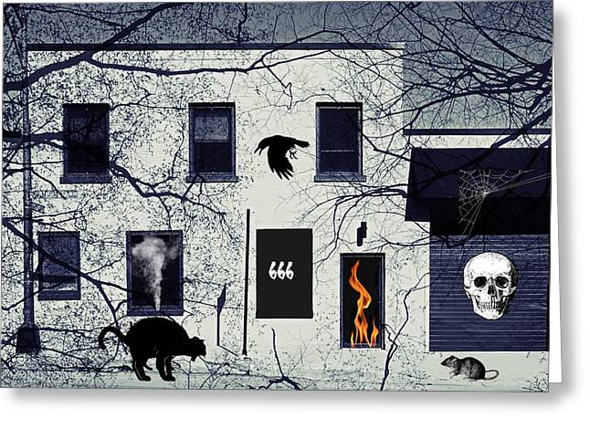 Hell House 666 Greeting Card by Robert Frank Gabriel