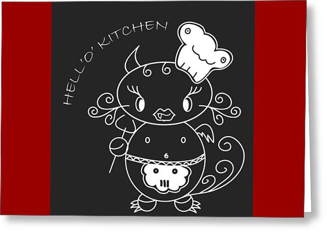 Hell Oh Katy - She-devil Cartoon In Kitchen Will Cook The Best For You And You Friends Greeting Card by Pedro Cardona