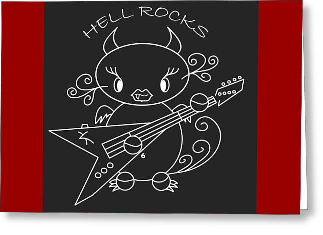Hell Ok Katy - The Lovely She-devil Cartoon With Longest Eyelashes - Hell Rocks Greeting Card by Pedro Cardona