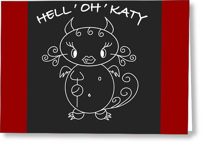 Hell Ok Katy - The Lovely She-devil Cartoon With Longest Eyelashes Greeting Card by Pedro Cardona