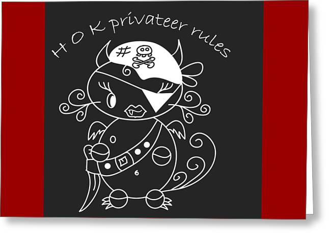 Hell Ok Katy - The Lovely She-devil Cartoon With Longest Eyelashes Privateer Rules Greeting Card by Pedro Cardona