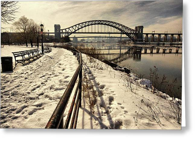 Hellgate Bridge In Winter Greeting Card