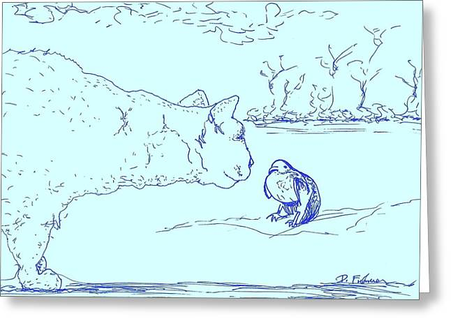 Greeting Card featuring the drawing Hello Birdie by Denise Fulmer