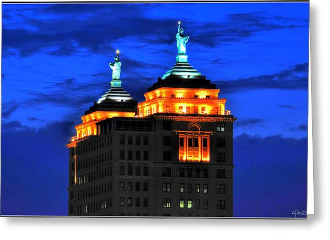 Hello Goodbye In Stormy Skies Atop The Liberty Building Greeting Card