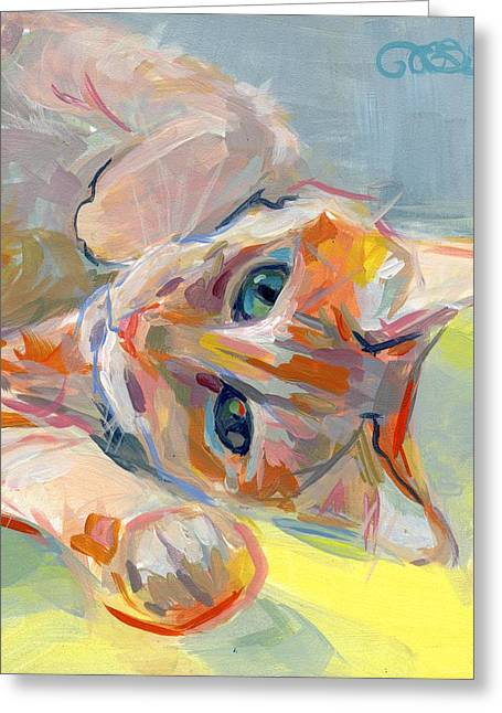 Orange Tabby Paintings Greeting Cards - Hello Kitty Greeting Card by Kimberly Santini