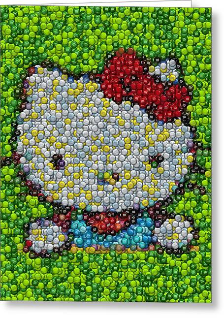 Hello Kitty Mm Candy Mosaic Greeting Card by Paul Van Scott