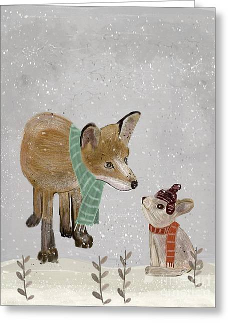 Greeting Card featuring the painting Hello Mr Fox by Bri B