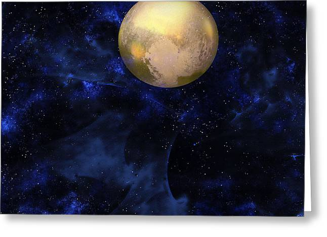 Greeting Card featuring the digital art Hello Pluto by Klara Acel