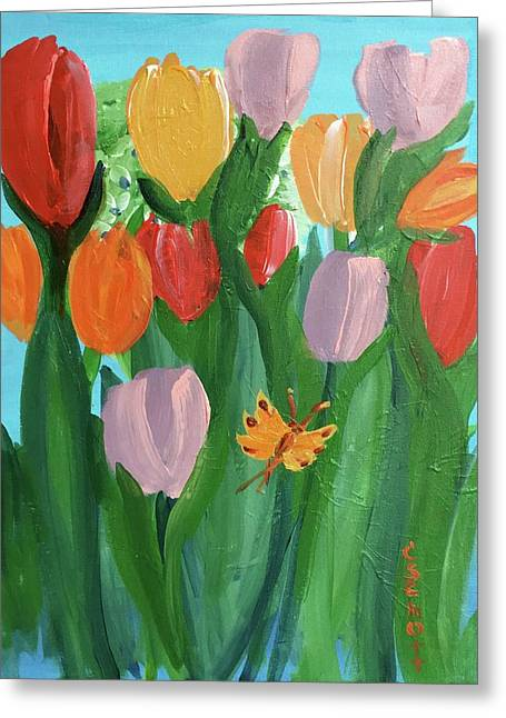 Hello Spring Tulips Greeting Card