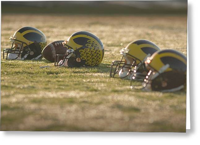Greeting Card featuring the photograph Helmets In Golden Dawn Sunlight by Michigan Helmet