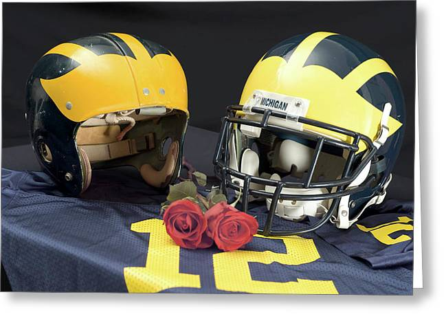 Helmets Of Different Eras With Jersey And Roses Greeting Card