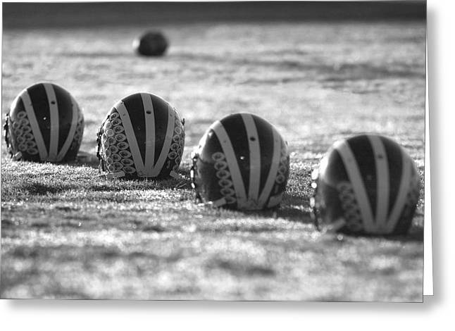 Helmets On Dew-covered Field At Dawn Black And White Greeting Card