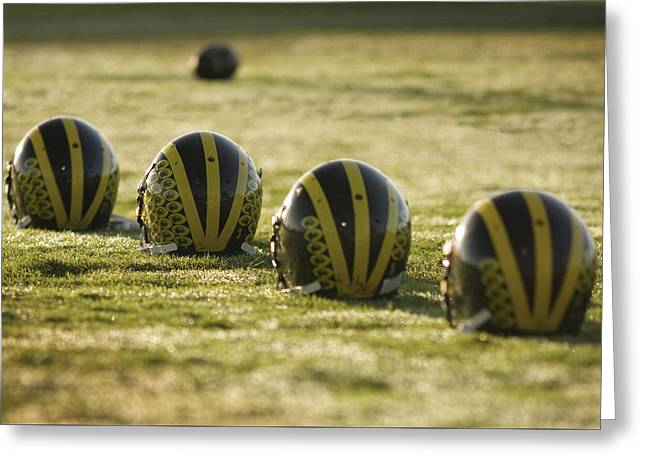 Helmets On Dew-covered Field At Dawn Greeting Card