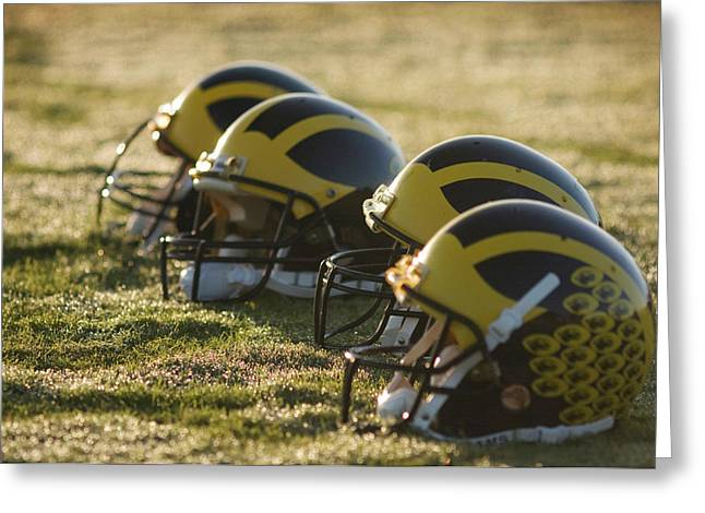 Helmets On The Field At Dawn Greeting Card