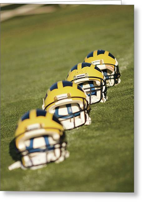 Helmets On Yard Line Greeting Card