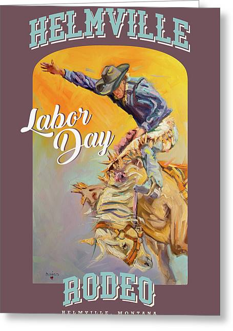 Helmville Rodeo Poster Greeting Card