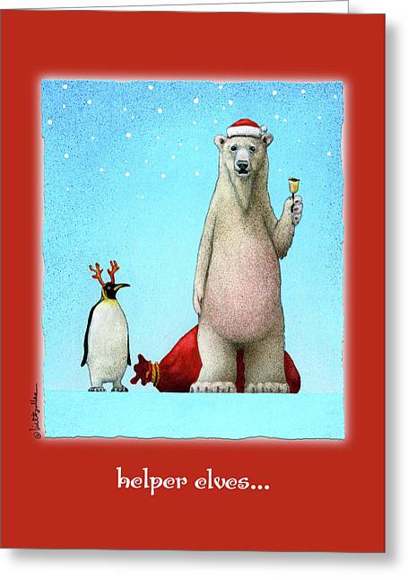 Greeting Card featuring the painting Helper Elves... by Will Bullas
