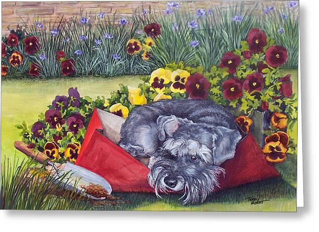 Helping The Gardener Greeting Card