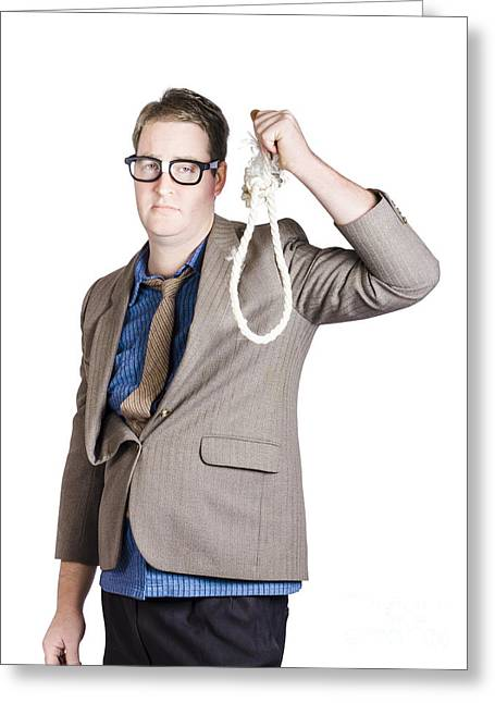 Helpless Businessman Holding Rope With Tied Noose Greeting Card