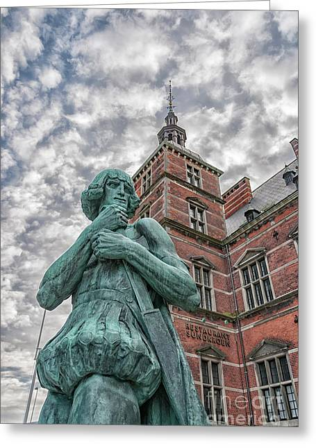 Greeting Card featuring the photograph Helsingor Train Station Statue by Antony McAulay