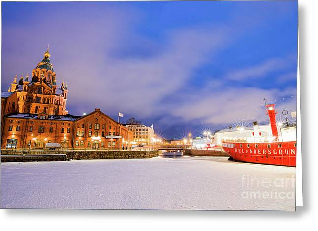 Greeting Card featuring the photograph Helsinki By Night by Delphimages Photo Creations