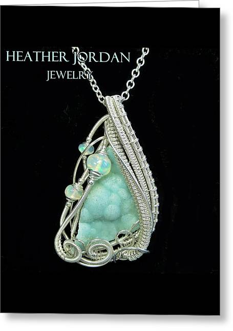 Hemimorphite Druzy Wire-wrapped In Sterling Silver With Ethiopian Welo Opals Hmphpss2 Greeting Card by Heather Jordan