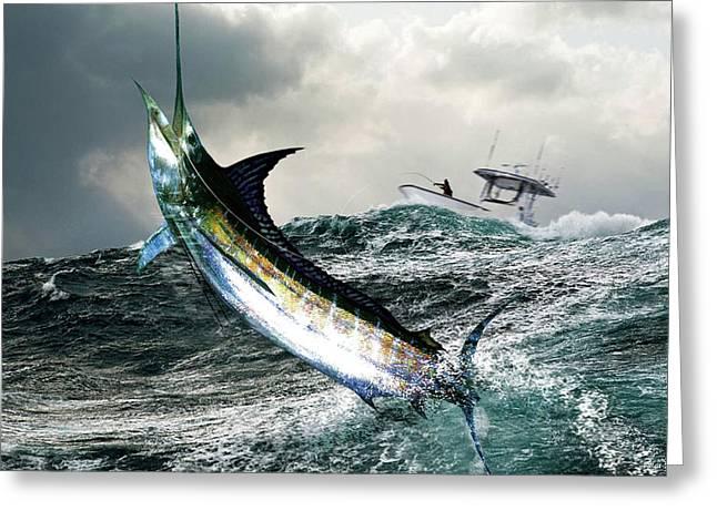 Hemingway's Marlin, The Old Man And The Sea, Fish On Greeting Card by Thomas Pollart